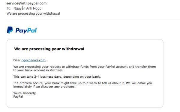 Đợi mail xác thực từ ngân hàng